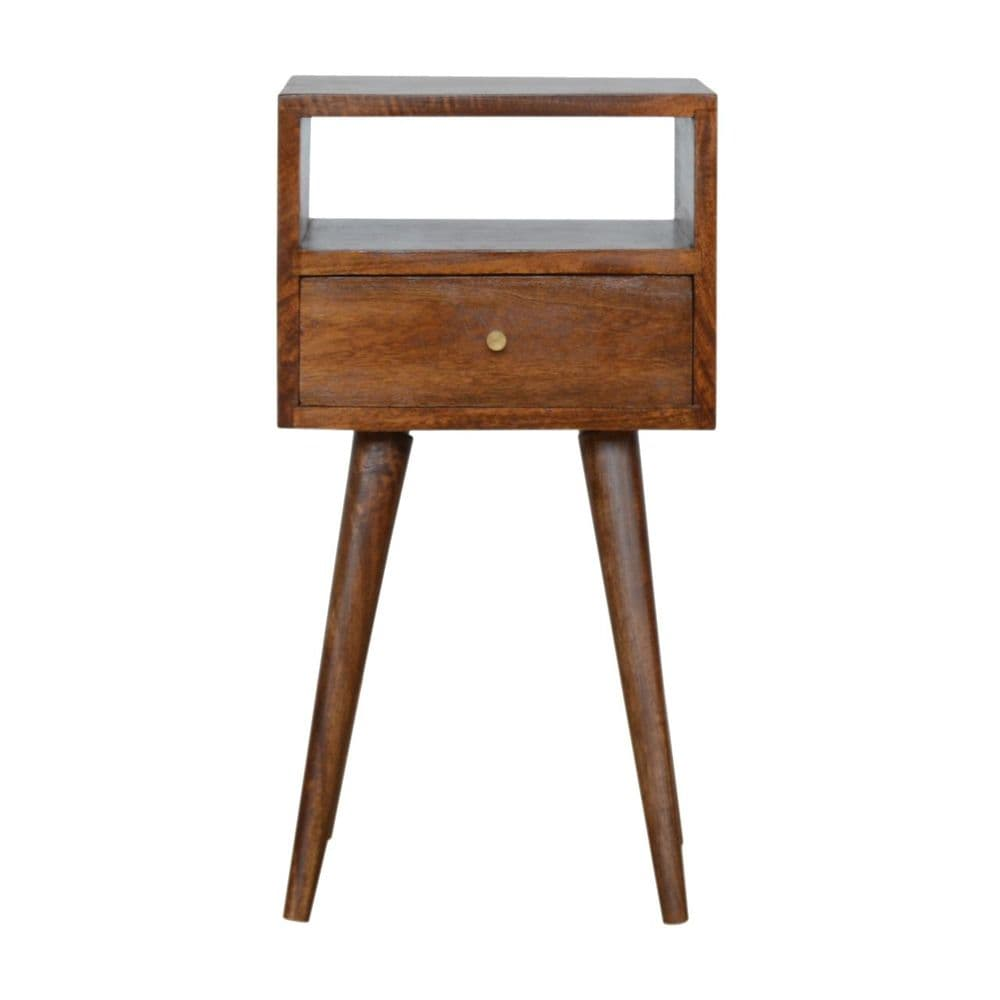 Petite Light Walnut Finish Bedside